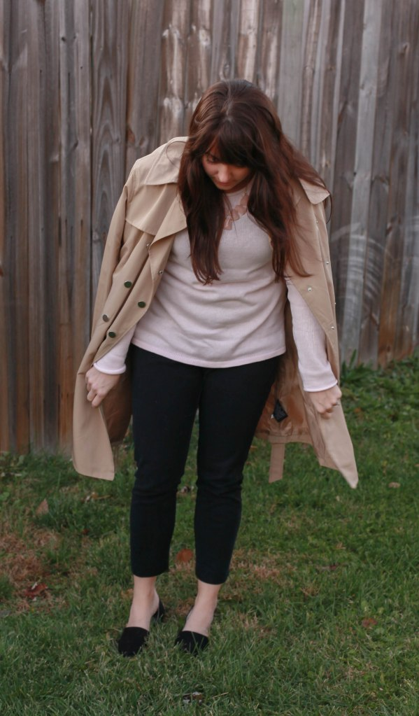 Soft Pink Sweater +  a Trench for the Office