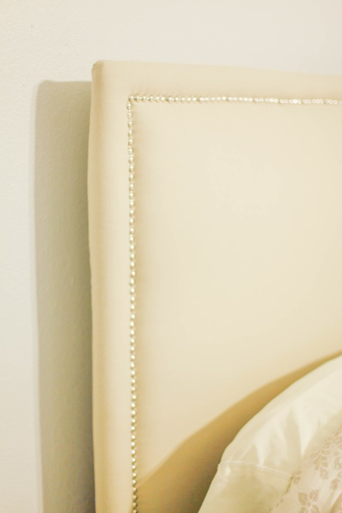 DIY Upholstered Headboard with Nail Heads